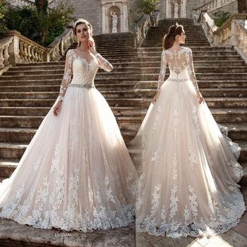 On115 Vestido De Noiva Long Sleeve Wedding Dress 2017 Sheer Tulle ...