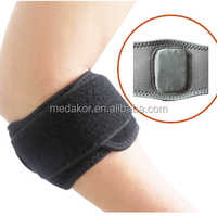 Adjustable neoprene compression tennis elbow brace support with silicon pad