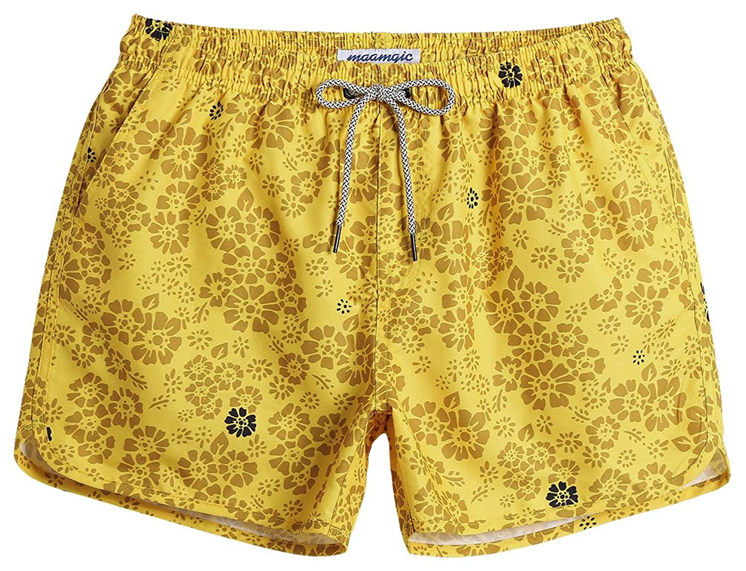 949df52437667 Get Quotations · MaaMgic Mens Short 80s Original Swim Trunks with Mesh  Lining Quick Dry Floral Vintage Swim Trunks