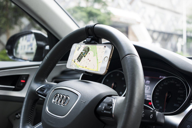 [Lifetime Warranty] JBett Universal Cell Phone Car Mount Holder on Steering Wheel, Steering Wheel Phone Socket Holder for Iphone 6 5s 5 4s 4, Samsung Galaxy (Black)