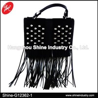 Black PU Tassel Bag/Studded Fringes Handbag/Fashion Rivets Lady Satchel Bag