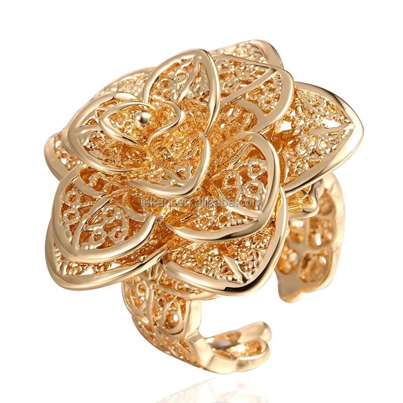 Elegant Big Flower Shaped Eco friendly Copper New Gold Design Ring