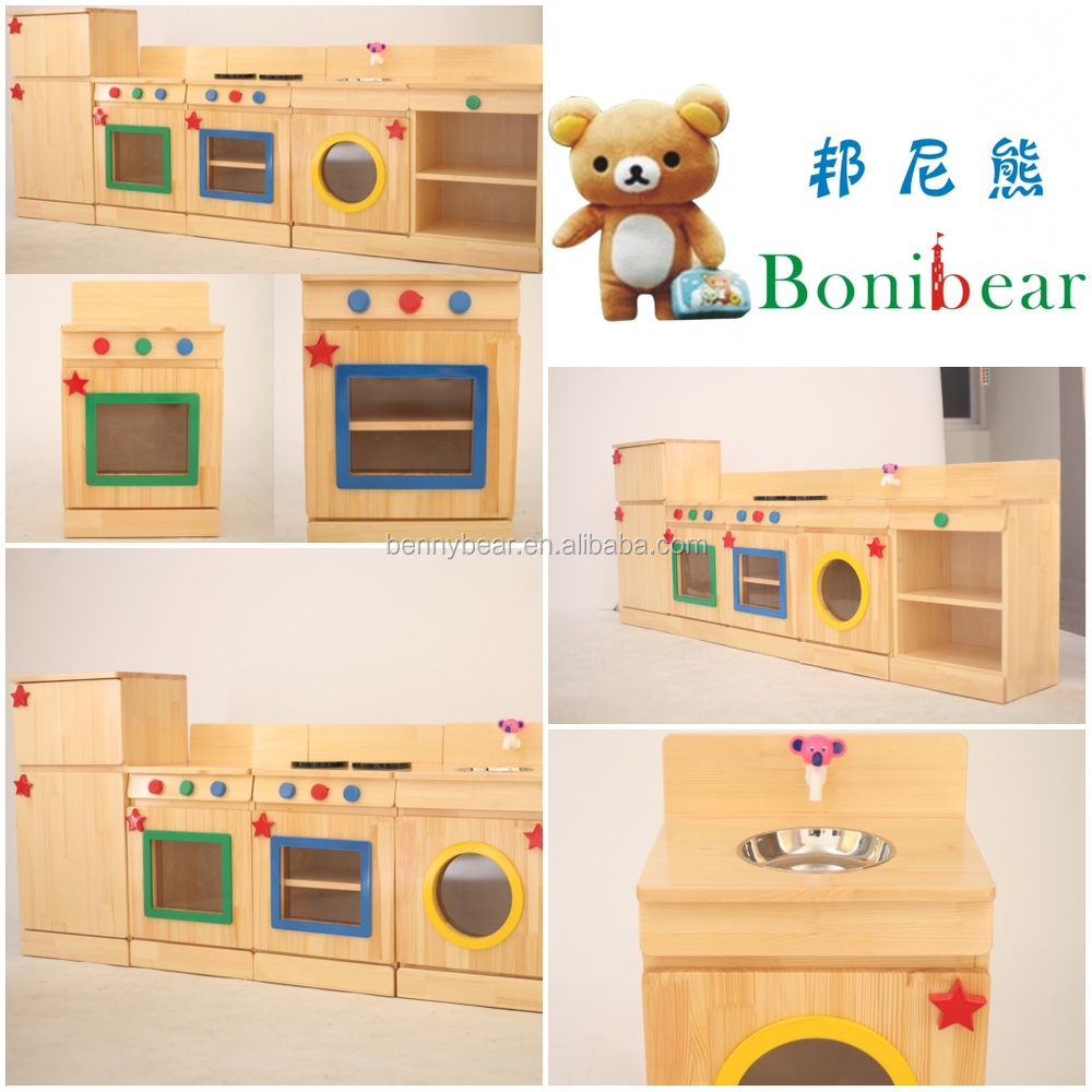 Children Wooden Role Play Toys Kitchen Set