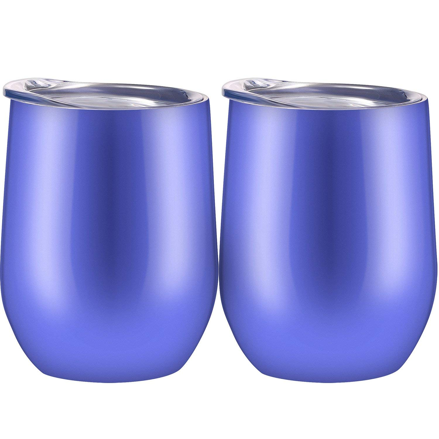 f7239f8c1fb Skylety 12 oz Double-insulated Stemless Glass, Stainless Steel Tumbler Cup  with Lids for