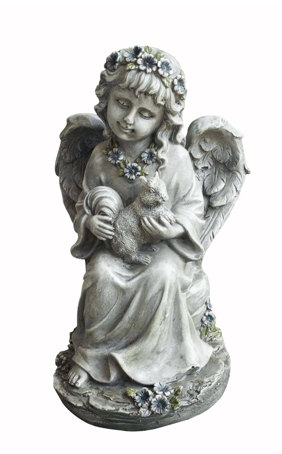 Hi-Line Gift Ltd Angel Child Sitting and Holding Squirrel Statue, 7-Inch