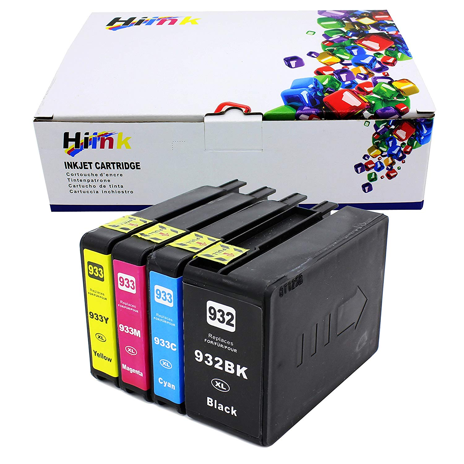 HIINK 4 Pack 932XL 933XL Ink Replacement For HP 932 933 Ink Cartridges Used In HP OfficeJet 6100 6600 6700 7110 7610 7612 7620 Printer(Black, Cyan, Magenta Yellow, 4-Pack)