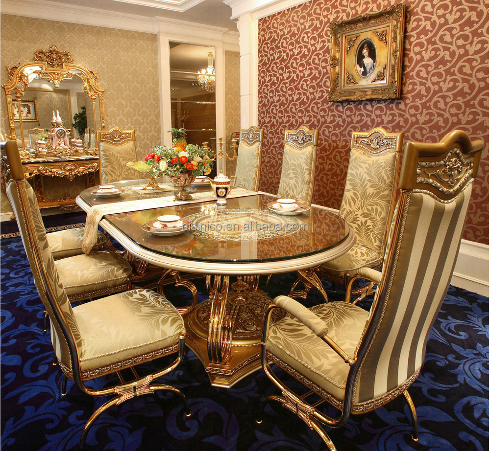 luxury french baroque design golden brass dining table with wooden top antique palace royal. Black Bedroom Furniture Sets. Home Design Ideas