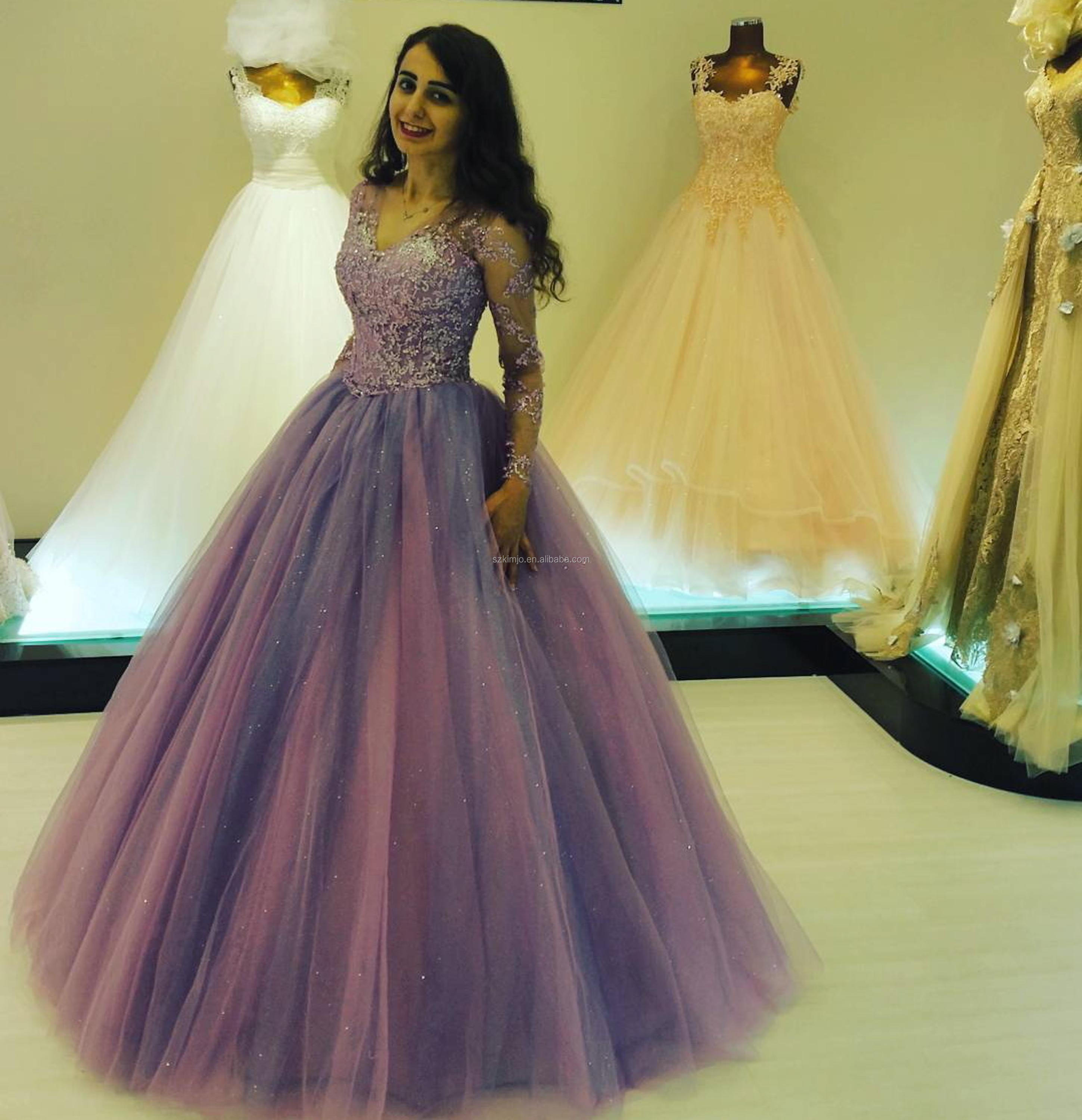 2018 Long Sleeve V Neck Purple Puffy Prom Dresses Ball Gown Beaded