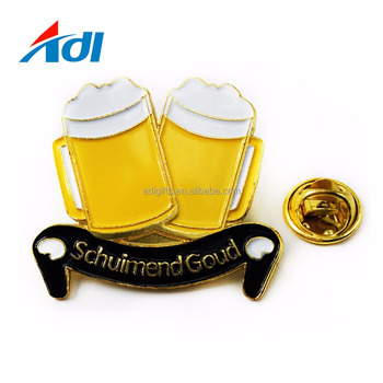 China custom yellow beer soft enamel carnival gold metal lapel pins