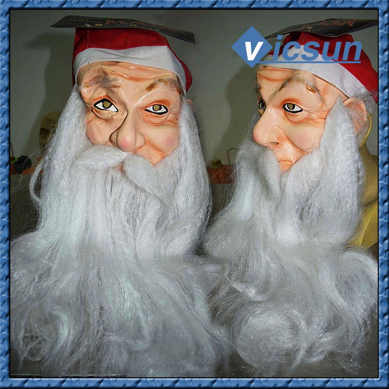 halloween christams santa claus cosplay realistic latex mask with long beard