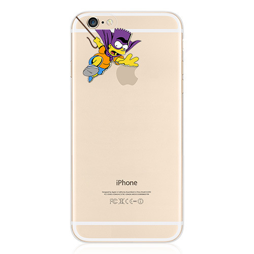 Cute Cartoon Simpsons Transparent Case For Apple iPhone 6 4.7 Inch Mobile Phone Protection Shell