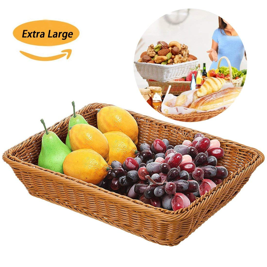 """Extra Large Poly-Wicker Bread Basket Imitation Rattan Rectangle Tray for Food Serving Restaurant/Kitchen/Coffee Table Display Organizer Decoraion Baskets Fruit Snacks Container,(16"""" x 12"""" x 4"""")"""