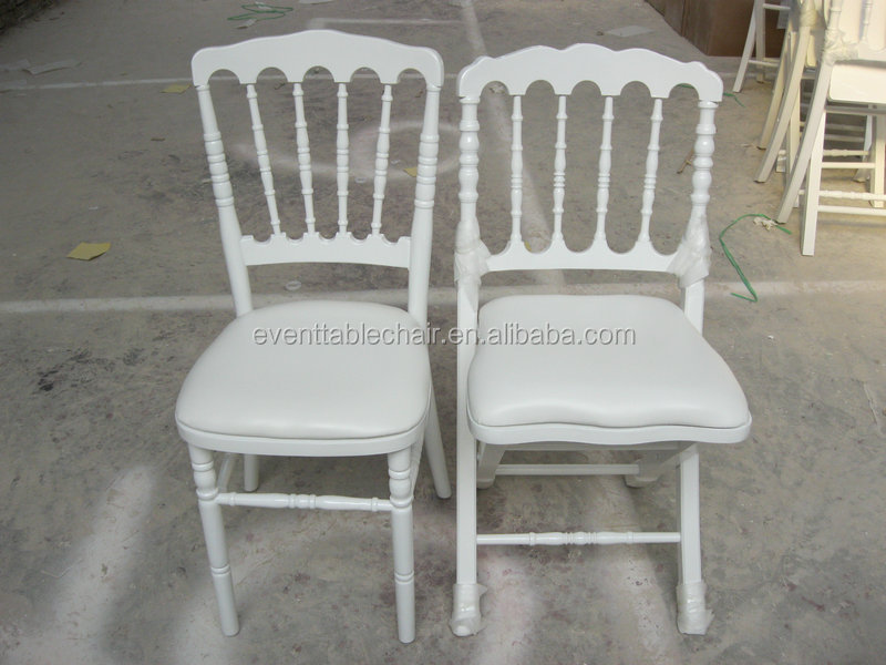 White Wood Napoleon Wedding Chairs With PVC Cushion Pad For Sale