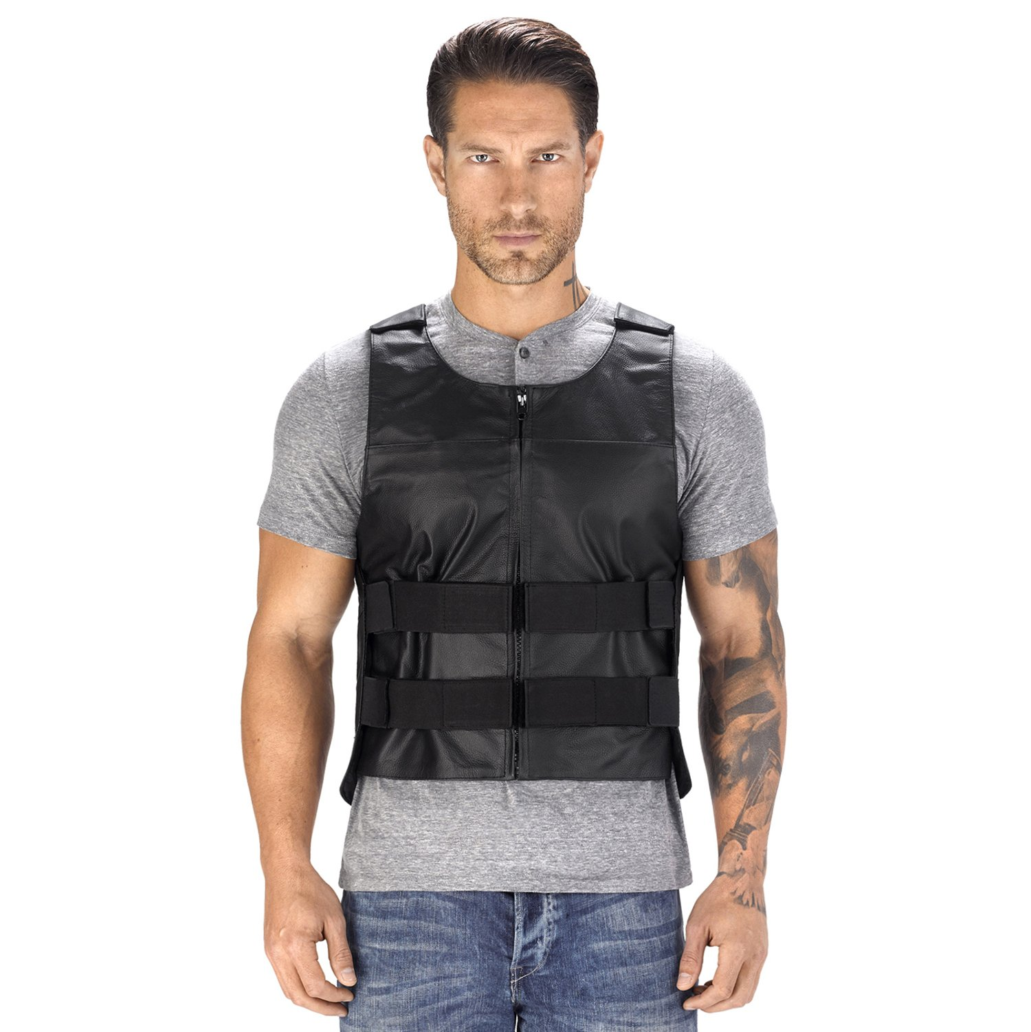Viking Cycle Revolver Leather Motorcycle Vest for Men (Medium)