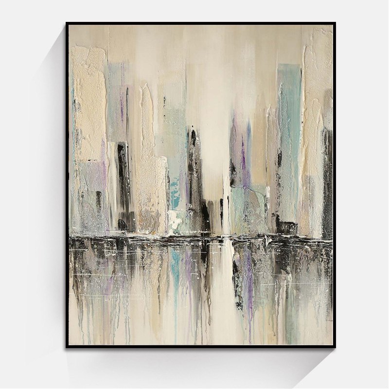JC New Arrivals Home Decoration Building Abstract Art Canvas Painting For Living Room ABS-7