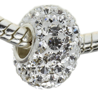 Clear Crystal Paved Big Hole Spacer Beads European Style European Crystal Charm Beads