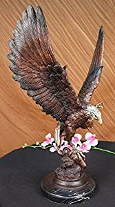 ...Handmade...European Bronze Sculpture Signed Two Tone Moigniez Magnificent Large American Eagle (56444M-UK) Bronze Sculpture Statues Figurine Nude Office & Home Décor Collectibles Sale Deal Gifts