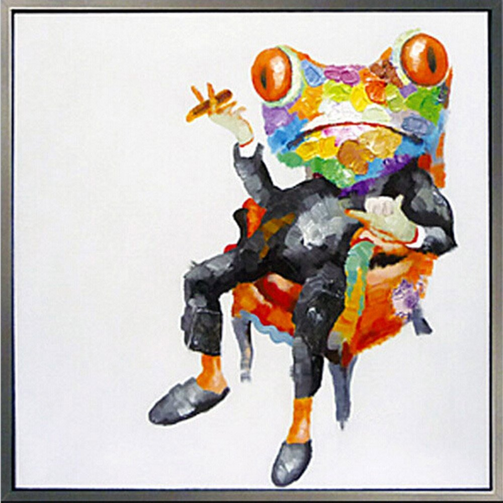 Osm Art Handmade Animals Oil Painting on Canvas Hang Picture Red Abstract Frog for Living Room Decor Modern White Abstract Painting No Frame Paintings
