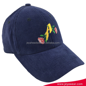 Blue Corduroy Floral Embroidered Baseball Cap Hard Hat Custom Women Baseball Cap Hat