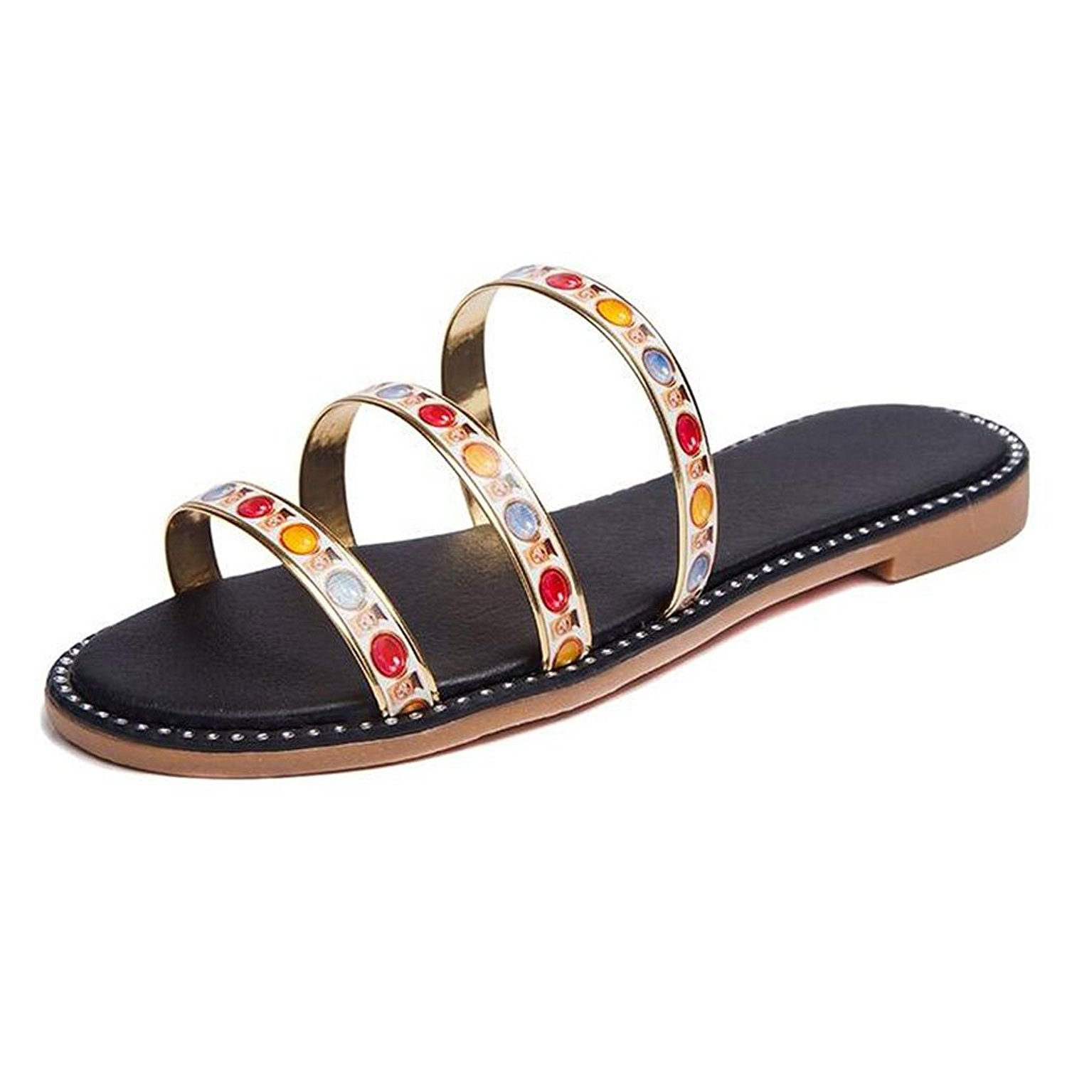e9bcee070392 Get Quotations · Women Slide Sandals Glitter Flat Thong Sandals Fashion  Beach Flat Slippers Shoes Sliver Gold