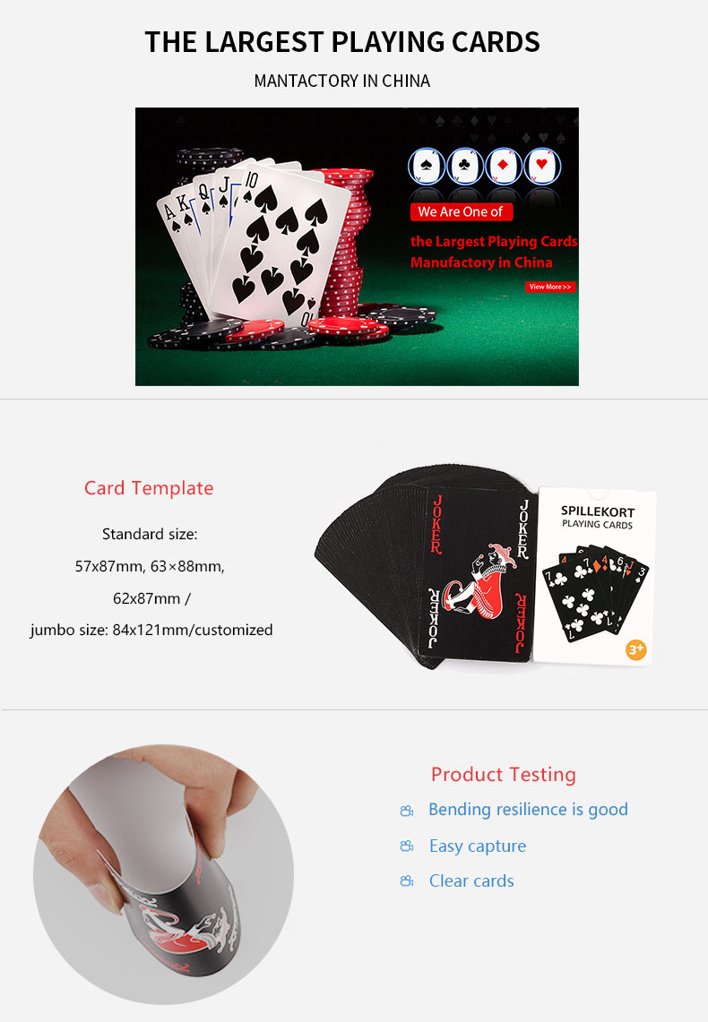OEM Available Custom Waterproof Poker Casino Playing Cards