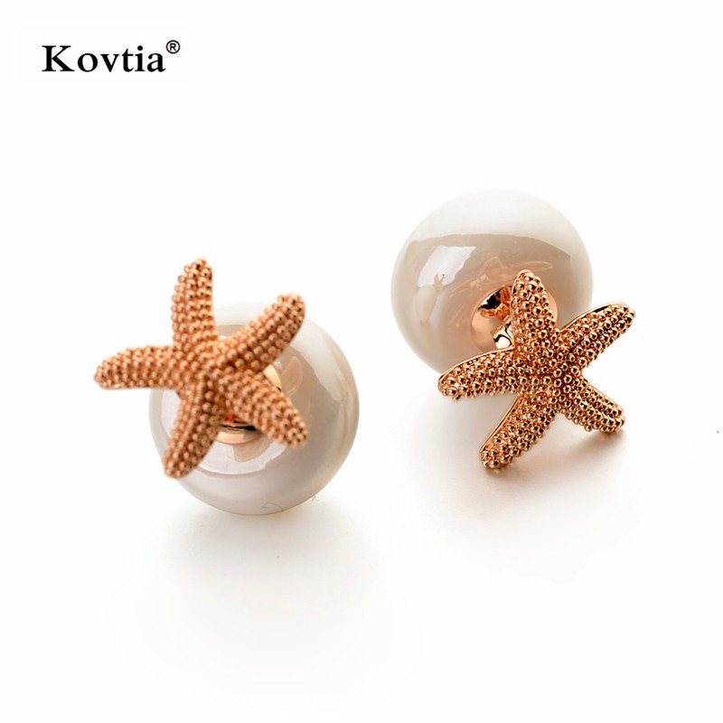 2018 New Excellent Simple Gold Plated Earring Double Sided Starfish Design Pearl Stud Earrings