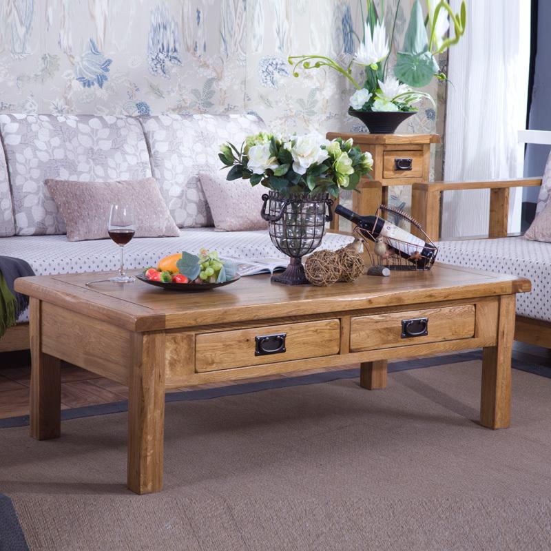 solide table basse en bois quatre tiroirs table basse rustique meubles de ch ne am ricain table. Black Bedroom Furniture Sets. Home Design Ideas