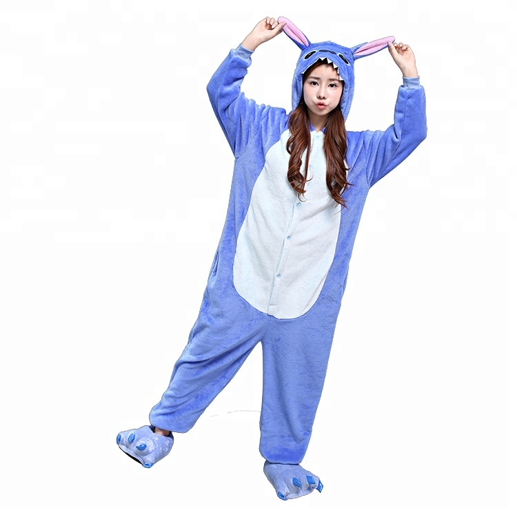 Gros animal de bande dessinée Stitch flanelle cosplay party pyjama à capuche