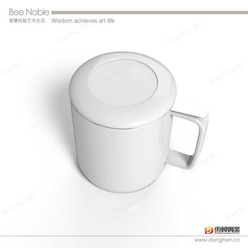 white ceramic tea infuser mug with lid for logo printings