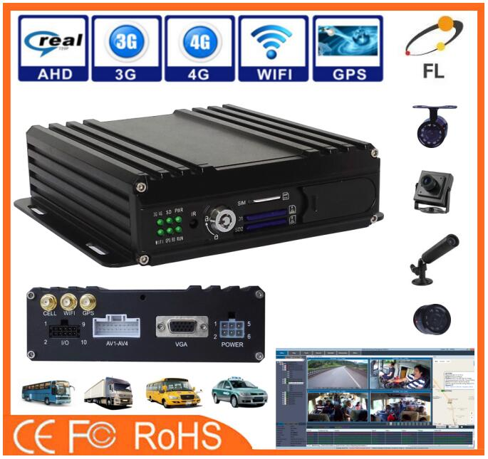 Dual SD Cards 4CH 3g Car 720p ahd camcorder wth mobile DVR for car alarm system