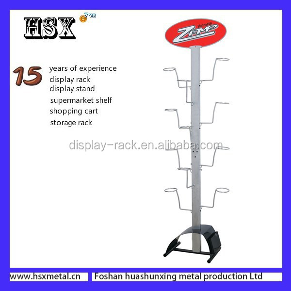 Hanging wire Safety Motorcycle Helmet display rack /display stand with hook HSX -122