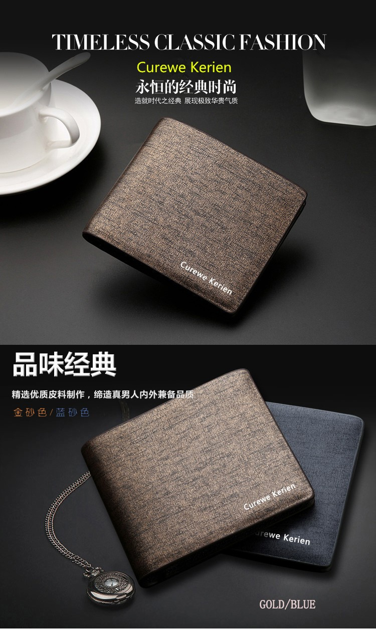 High Quality Brand Luxury Male Business Short Pocket Bags Money Clip Card Holder Classic Clutch Leather Purse Bag Men Wallet Hot