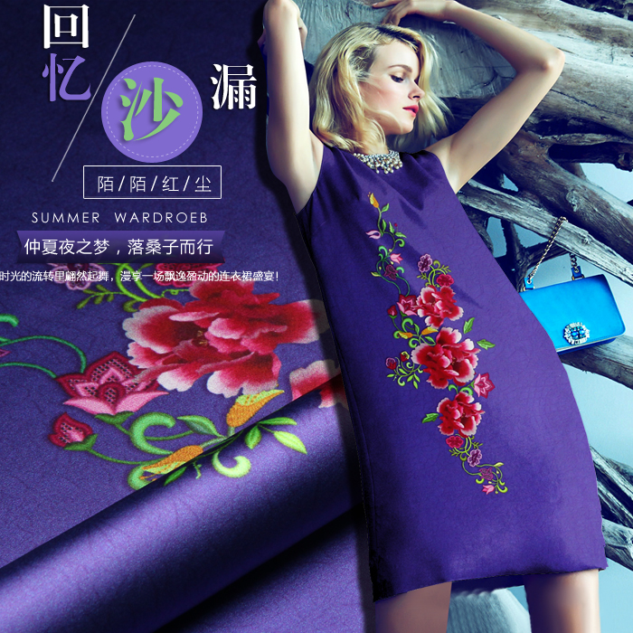 stretch satin printed silk floral dress fabric