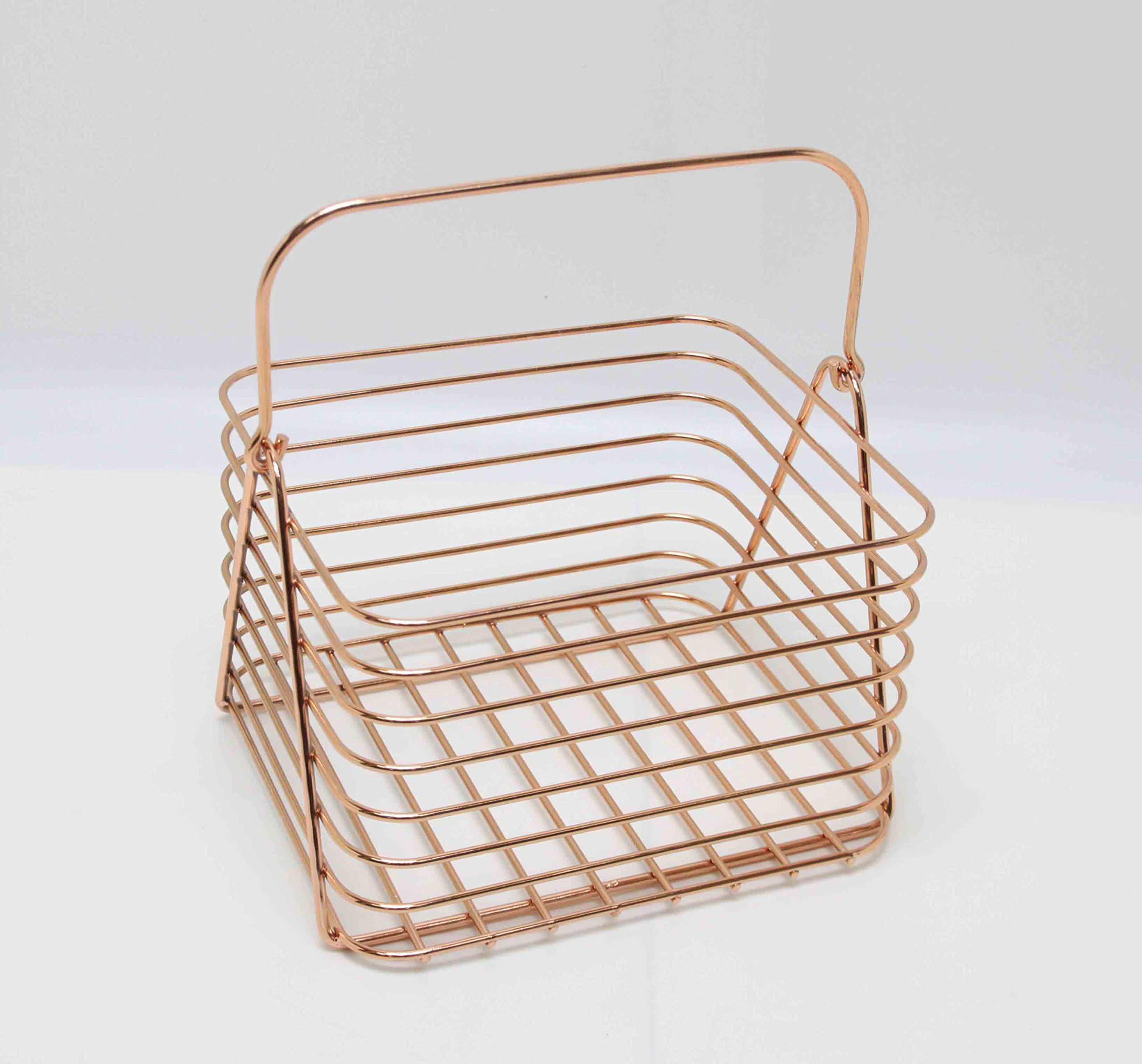 Fixture Displays Small Copper Classical Kitchen Pantry Bath Wire Basket Tote with Handle 16038