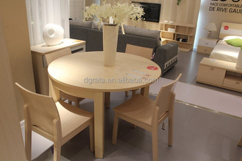 2017 Round Dining Table With 4 Chairs Is Made By Solid Wood Particle Board Melamine