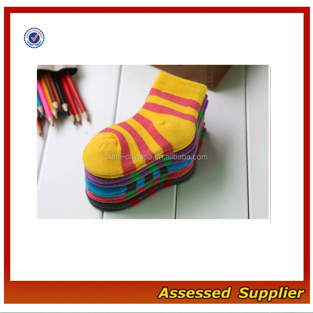 High Quality Custom Multicolored Stripes Baby Cotton Terry Socks/ Baby Fashion Winter Causal Socks MLL374