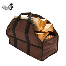 2 Handle Log Carrier for Firewood Collapsible, Dust-Proof Wood Bag Comfortable Soft Handles Heavy Duty Large Size Tote