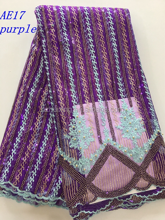 New arrival fashion design african net lace fabric with sequence and beads AE17