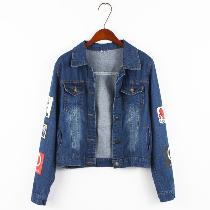 2015 Best Fashion High Quality Letter Printed Streetwear Loose Single Breasted Denim Bomber Jacket For Women or Ladies S M L