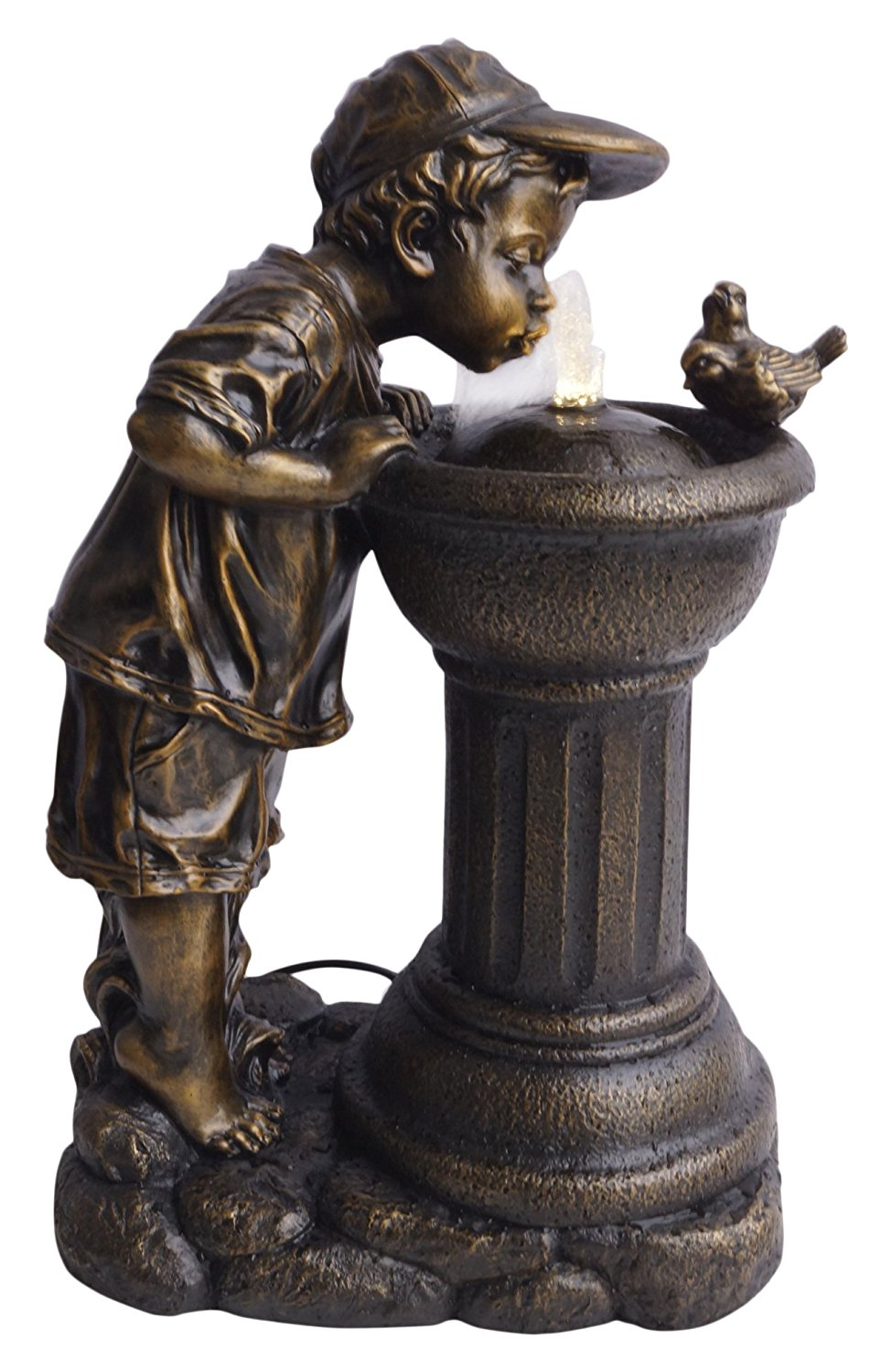 Get Quotations Alpine Corporation Golden Boy Drinking Water Out Of Fountain With Led Light