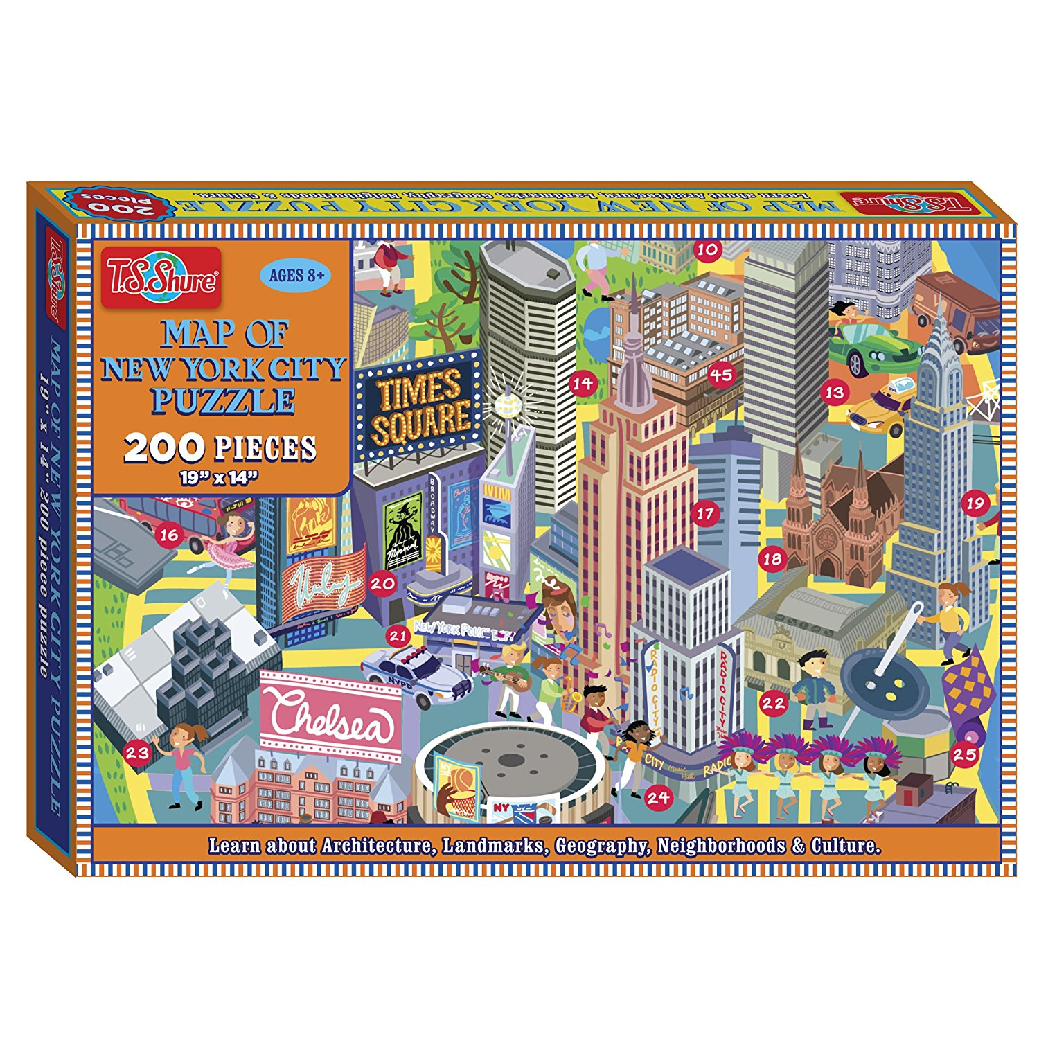 T.S. Shure Map of New York City 200 Piece Jigsaw Puzzle