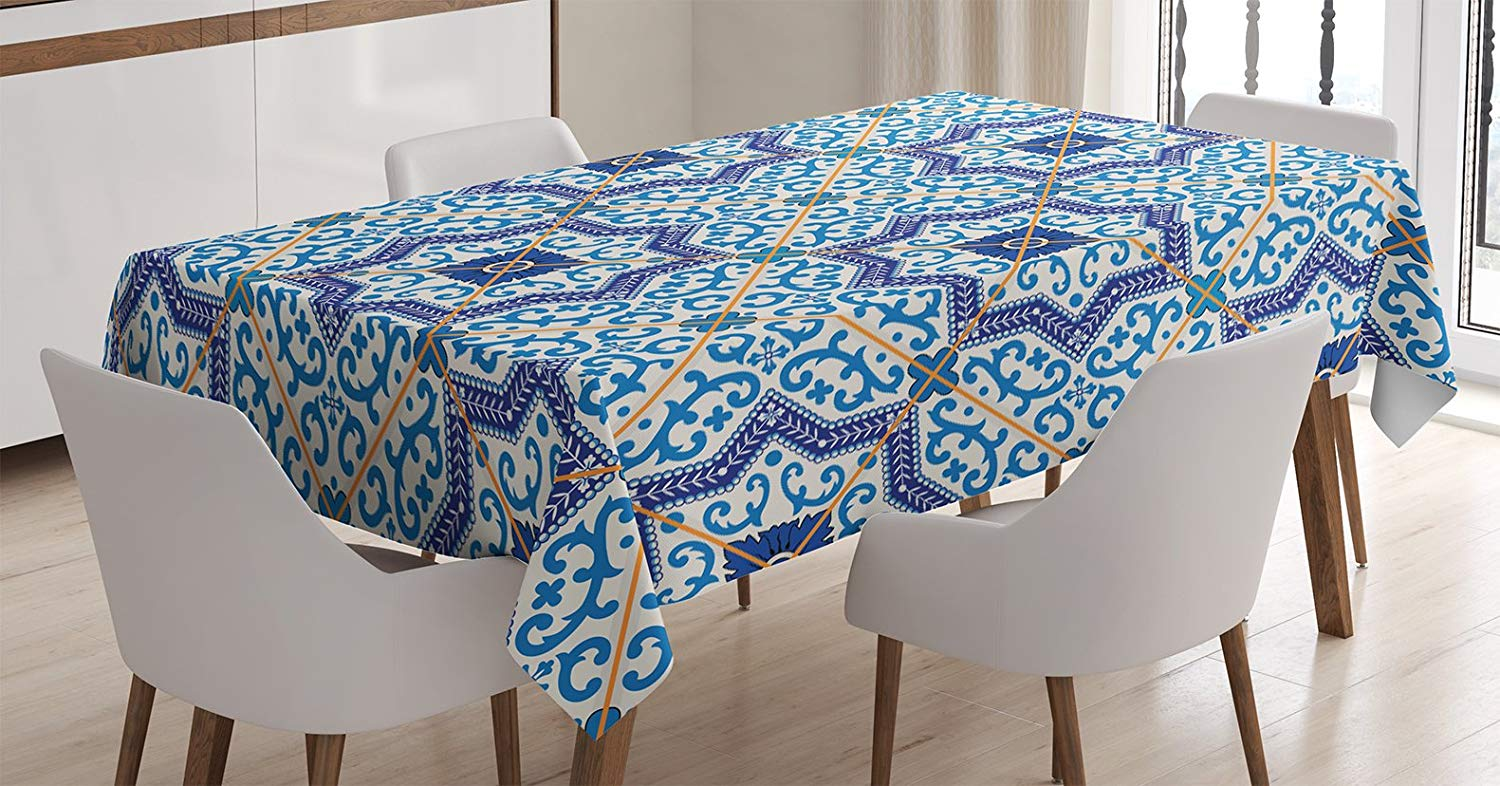 Ambesonne Moroccan Decor Tablecloth by, Moroccan Portuguese Style Classic Tiles Ornaments Islamic Historical Buildings Art, Dining Room Kitchen Rectangular Table Cover, 52 X 70 Inches, Blue White