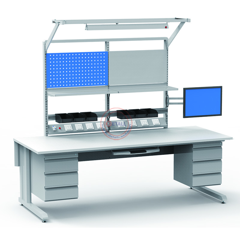 Mobile Metal Steel Lab Work Bench Table With Esd Tool