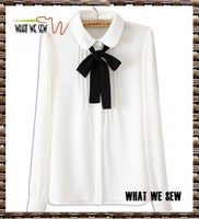 White ruched front bow tie long sleeve shirt 100%Chiffon neckline shirt collar
