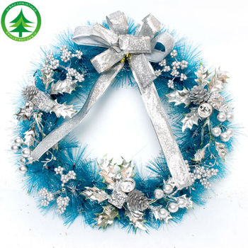 artificial bulk wholesale silver ribbon blue christmas wreath decoration color size can customize picks christmas - Christmas Wreath Decorations Wholesale