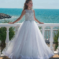 2018 Princess Beaded Crystal Girls Pageant Dresses Tulle Floor Length Beach Flower Girl Dresses For Weddings