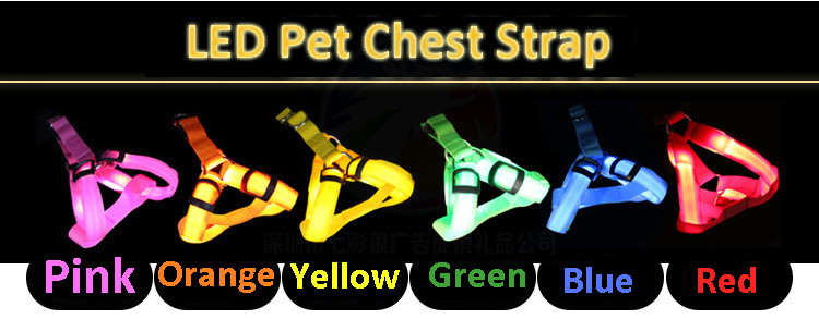 Popular  LED Light Pet Dog  Leash Breathable Mesh Nylon Adjustable Puppy Collar Chest Strap For Big or Small Size Dog