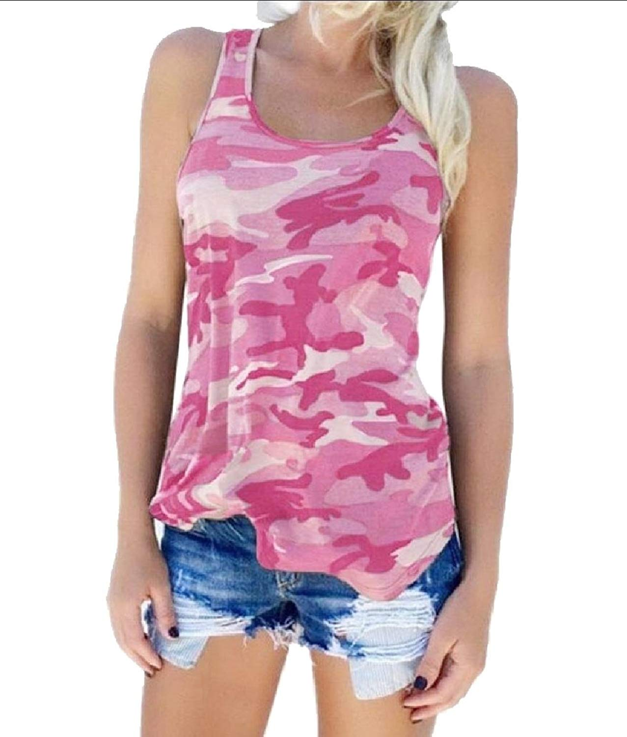 a9608481b0f Get Quotations · Fseason-Women Camo Fitted Cotton Plus-Size Fashionable Tank  Top Shirts
