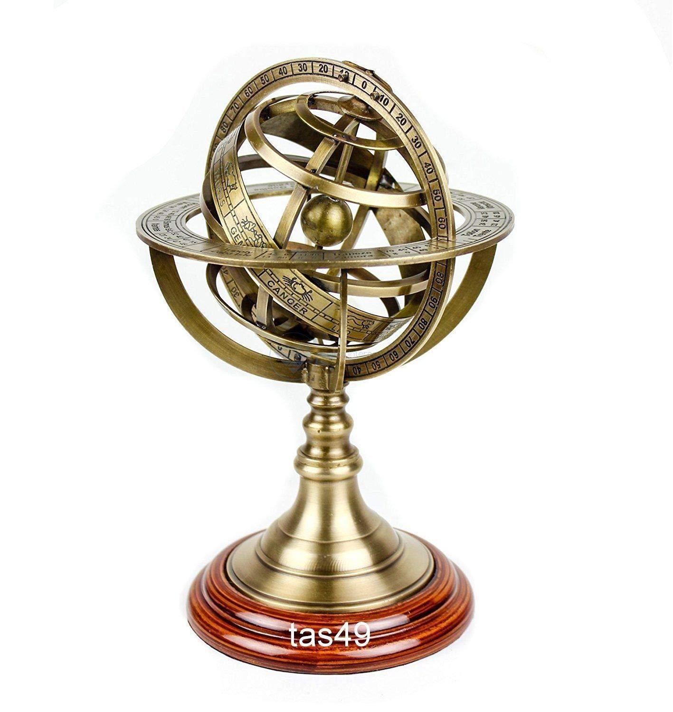 Shaheera Nautical Maritime Nautical Brass Royal Armillary Sphere Antique World Globe Wooden