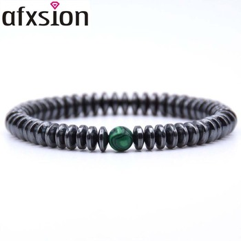 AFXSION High quality 8mm Natural gem stone Beaded health bracelet for women men magnetic hematite bracelet